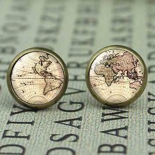 New US Movie Map Brass Post Mens Womens Glass Punk Jewelry Stud earth world Map 1pair/lot The arrow vintage earrings steampunk(China)