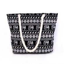 Women Canvas Handbag Single Shoulder Handbag Elephant Canvas Beach Bag Woven Shoulder Handbags Women Canvas Tote Printed Bags