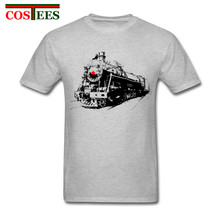 Adult Male Soviet Steam Locomotive T-Shirt Graphic printing Short sleeve Tee with Train Vintage Slim Trendy Retro tshirt for Men(China)