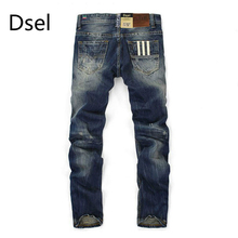 Famous Dsel Brand Fashion Designer Jeans Men Straight Dark Blue Color Printed Mens Jeans Ripped Jeans 100% Cotton Man Jeans(China)