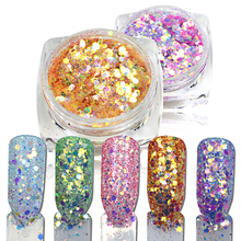 1Bottle 1.5g Mixed Color Glitter Dust Nail Powder USA Nail Decoration Glitter For Nail Decoration Nail Tool BET08-21