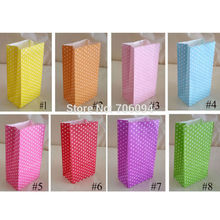 Stand up Colorful Polka Dots Paper Bags, 18x9x6cm Favor Bag, Open Top Gift Packing Bags, Treat Bag, 100pcs