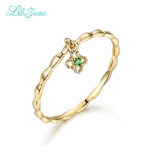 I&zuan 14K Gold Rings For Woman Flower 0.021ct Diaspore Natural stone Prong Setting Trendy Simple Ring Fine Jewelry Woman gift