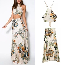 Fashion 2 Piece Summer Women Dress Set Crop Tops Bodycon+Long Maxi Skirt Party Floral Beach Dresses