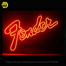 Business Custom NEON SIGN board For Fender Electric Bass Guitar Brand REAL GLASS Tube BEER BAR PUB Club Shop Light  17x14 VD
