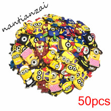 50pcs Lovely Cartoon Minions Soft Decoration Accessories DIY Croc Shoe Bag Iphonecase Gadgets kids gifts(China)