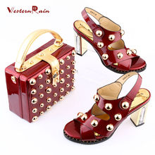 Fashion Party  Italian New Design Patent leather Shoes And Matching Bags Set  African Women Pumps Ladies big size shoes for Dame