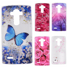 Phone Cases sFor LG Optimus G4 H810 H815 VS999 F500 Flowers Rose Plants Butterfly Pattern Clear Soft TPU Back Cover for LG G 4