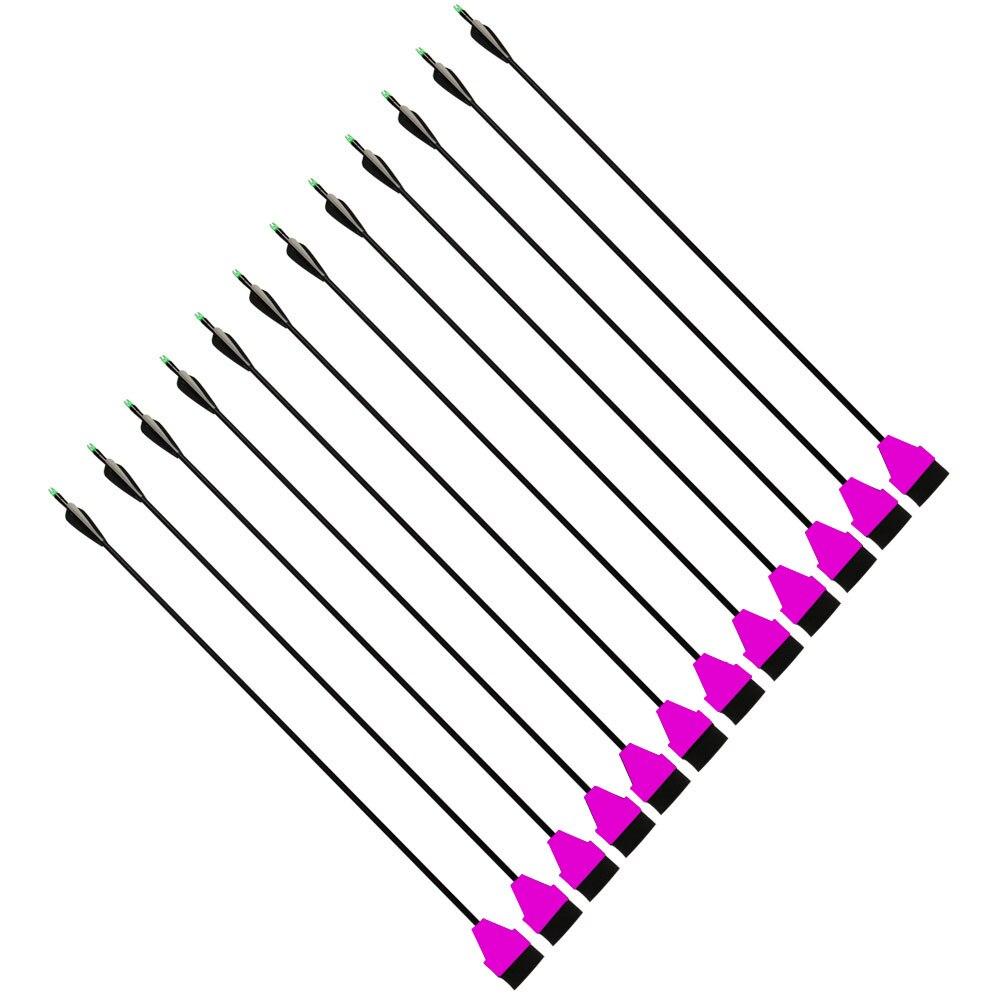 12PK Foam Broadhead + 33 Long Fiberglass Arrows for Recurve/Compound Bows Hunting Parctice<br>