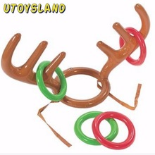 UTOYSLAND Children Kids Inflatable Santa Funny Reindeer Antler Hat Ring Toss Christmas Party Supplies Toys