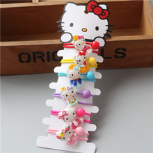 6 PCS Creative Cute Resin Animal Hello Kitty Baby Headdress Children Hair Ropes Kids Elastic Hair Bands Girls Hair Accessories(China)
