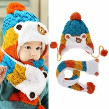 Baby Caps Toddler Girls Boys Winter Warm Cartoon Hat Hooded Scarf Earflap Knitted Infant Cap