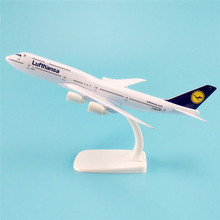 20cm Metal Alloy Plane Model German Air Lufthansa Airways Boeing 747 B747 400 Airlines Airplane Model w Stand Aircraft   Gift