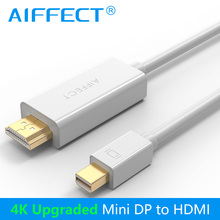 AIFFECT 4K Mini DP to HDMI Cable Mini DisplayPort Thunderbolt Display Adapter for Macbook Pro Air Projector Camera TV Support 3D(China)
