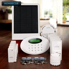 HOMSECUR Wireless GSM Home Alarm System +Wireless Solar Outdoor Flash Siren(China)