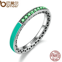 BAMOER 925 Sterling Silver Radiant Hearts Bright Mint Enamel & Royal Green Crystals Women Ring Engagement Jewelry PA7619(China)