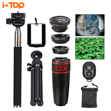 Buy 10in1 Phone Camera Lens 12x lens Fish eye Fisheye Lentes broad macro objectives selfie stick monopod tripod iphone xiaomi for $12.83 in AliExpress store