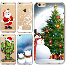 Christmas Case For iPhone 6 6S Cover Soft Clear Santa Claus Christmas tree snowflakes Design New Year Gift Fitted Case