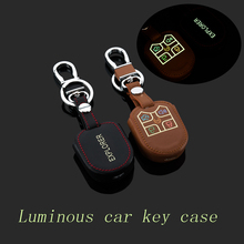 Genuine Leather Car Keychain Key Fob Case Cover for Ford Explorer Edge 4Buttons Straight Car KeyChain Ring Holder Auto Accessory