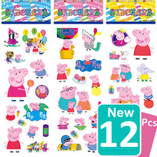 No Repeat 12 Pcs Cute Kids 3D Mini Cartoon Pink Pig Animal Stickers Action Figure Model DIY Assembles Toy Baby Kids Game Gifts