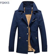 FGKKS Men Jacket Coat Long Section Fashion Trench Coat Jaqueta Masculina Veste Homme Brand Casual Fit Overcoat Jacket Outerwear