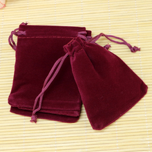 Free Shipping,100pcs/Lot 10x12cm Purplish Red Christmas Wedding voile gift bag Velvet Bags Jewelry packing Gift Pouches(China)