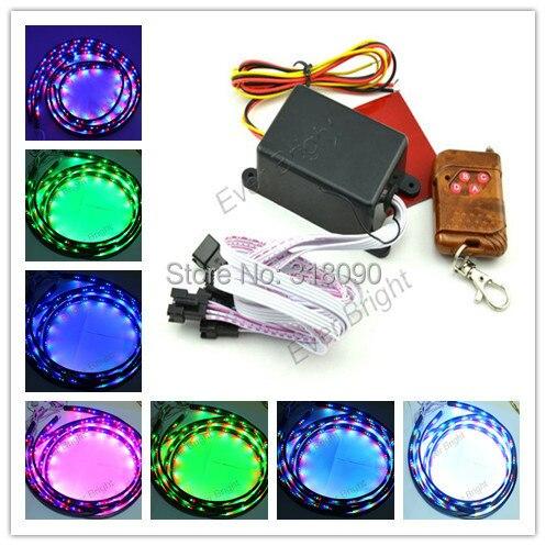 4pcs/set (90CM*2+120CM*2) Music RGB Automobile Car LED Strips Decorative Lights Changing Strobe  Wireless Remote Controller<br><br>Aliexpress