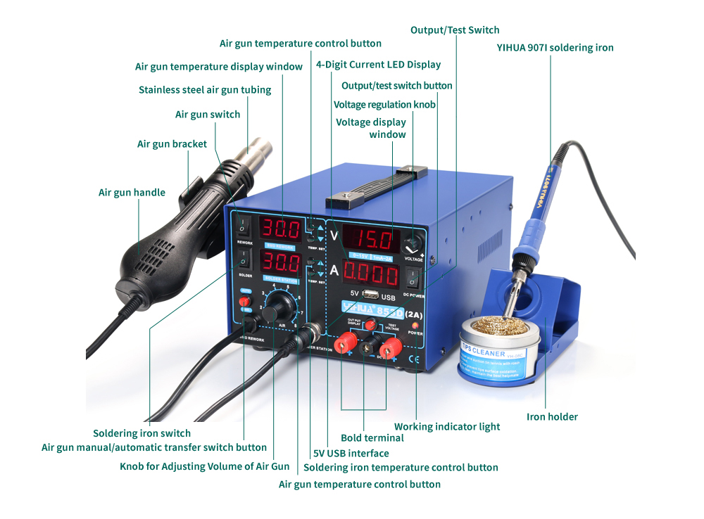 3 In 1 SMD Rework Soldering Station with Soldering Iron Hot Air Gun With 5V 2A USB DC Power Supply BGA Desoldering Welding Repair Tool 03