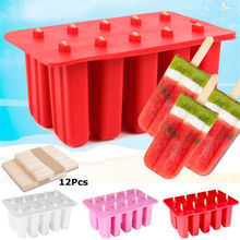 New brand Food Grade Silicone three colors10 Cell Frozen Ice Cream Lolly Juice Yogurt Maker Mold Mould plus 10 Popsicle Stick(China)