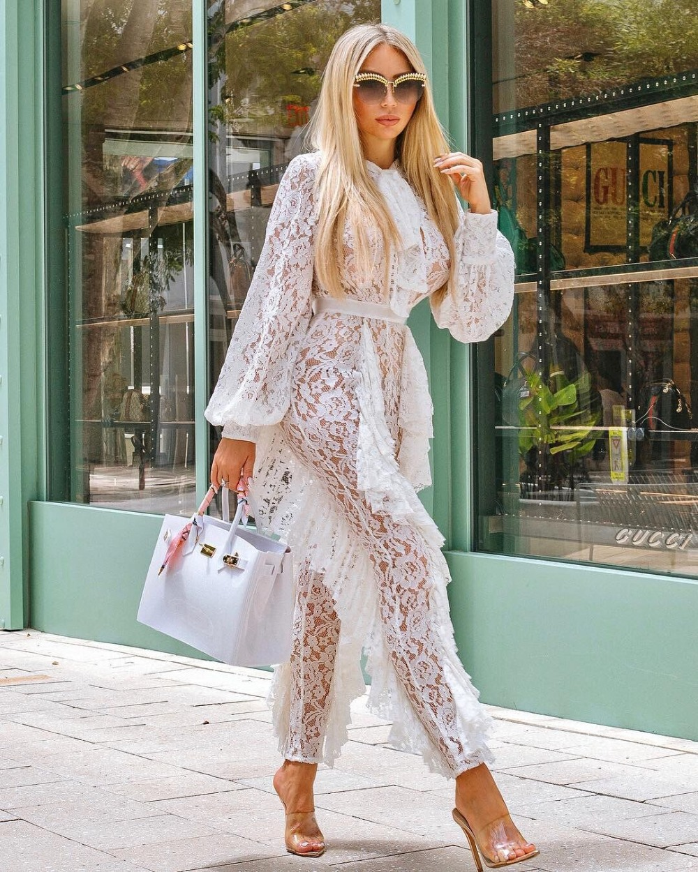 Celebrity Long Lace Hollow Out Jumpsuit Full Length Top Quality Day Party Jumpsuit