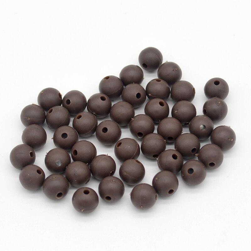 100pcs//lot Carp Fishing Beads Round Soft Rubber Black Green Brown Grey Rig Beads