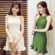 plus size women clothing 2017 spring new European station lotus leaf side Sundresses Sleeveless beautiful cheap dresses Sexy