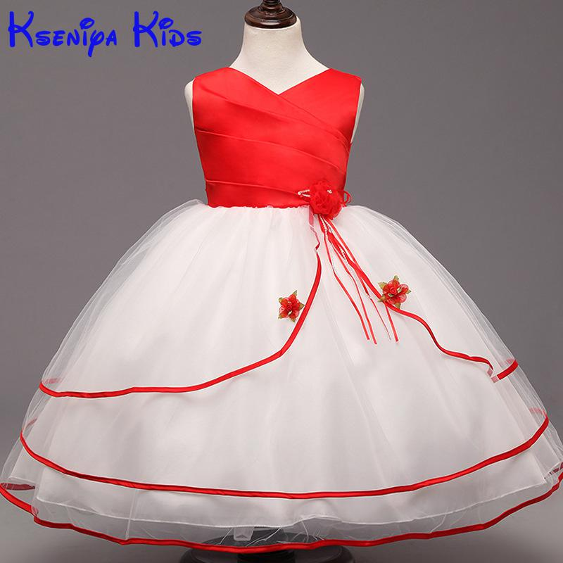 Kseniya Kids 2017 Girls Flower Brief Cute Novelty Red Chinese Style Lace Fluffy Ball Gown Evening Dress Girl Party Dresses<br>