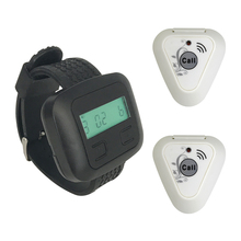 wireless paging system 2 pcs of calling buttons+ 1 pcs of watch pager receiver/ watch pagers for restaurants/call bells(China)