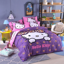 Purple pink Hello kitty Bedding Set 4pcs include Duvet Cover Bed Sheet pillowcase Children Kids Cartoon twin full queen BedLinen(China)