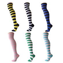 Women Striped Thigh High Stockings Over Knee Socks Warm Long Socks Compression Stocking Christmas Socks medias Winter Autumn(China)