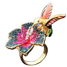 New 2016 Fashion Gold color Gorgeous Alloy Ring Color Flower And Bird Design Fashion Weddings Rings Jewelry for Women Souvenirs(China)