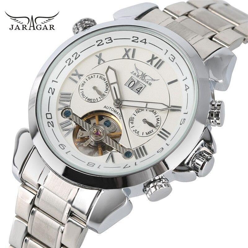 JARAGAR Mens Relogio Masculino Day/Week/Month Tourbillon Auto Mechanical Wristwatch Gift Box Free Ship<br>
