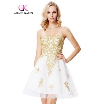 Oro apliques corto sweetheart robe de soirée prom dress 2017 blanco longitud de la rodilla nueva llegada formal partido vestidos de noche dress