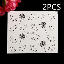 2PCS Water Transfer Nail Stickers Nail Art Tips Dandelion Fly Seeds DIY Decals