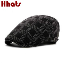 which in shower adjustable flat fashion cap cotton spring summer beret hat women men breathable plaid peaked cap duckbill bone(China)