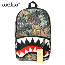2016 New fashion BackPack The shark mouth Hippie pop backpack Casual Daypacks women travelling school Backpack Mochila XA1093B