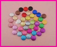 50PCS Assorted colors 20mm Round Glitter Covered Button Beads with flat back for DIY headbands accessories