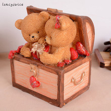 Lovers Bears Money Box Treasure Chest Resin Craft Piggy Bank Saving Pot Lovers Birthday Gift Home Table Decoration