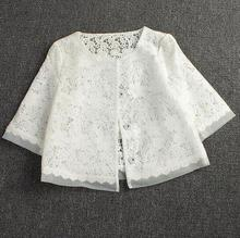 new Spring summer women lace short jacket women's organza Single-breasted white hollow coat Tops D1351