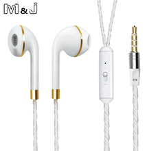 M&J Wired Earphone For iPhone 6s 6 5 Xiaomi Hands free Headset Bass Earbuds Stereo Headphone For Apple Earpod Samsung earpiece(China)