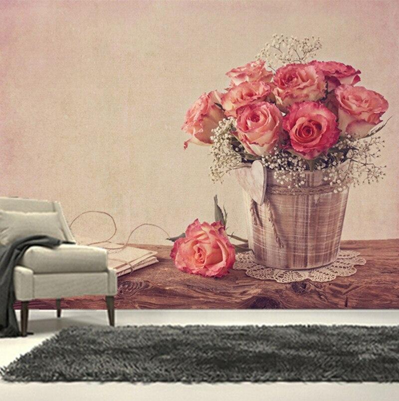 Custom 3D murals,beautiful roses pink color vase Flowers papel de parede,living room sofa TV bedroom background wallpaper<br>