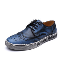 ALEADER 2017 Men Casual Dress Shoes Fashion Brogue Shoes Genuine Leather Lace Up Mens Shoes Comfortable Men Walking Shoes Sapato(China)