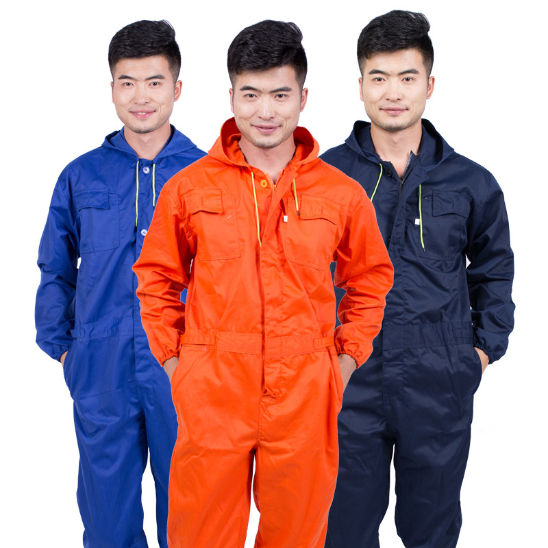 2019 New One-piece Hooded Overalls Auto Repair Welding Spray Paint Clothes Thick Cotton Jumpsuits