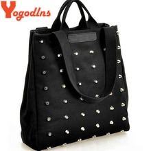 Yogodlns Hot sale women's handbag preppy style punk rivet handbag thickening canvas bag student bag